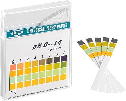 ECENCE Tiras de Prueba pH 100 Unidades, Papel para Prueba de tornasol, Rango de medición 0-14, indicador Papel Universal, Test de orina, Test de ácidos para acuarios, Agua Potable 14030105: Amazon.es: Electrónica