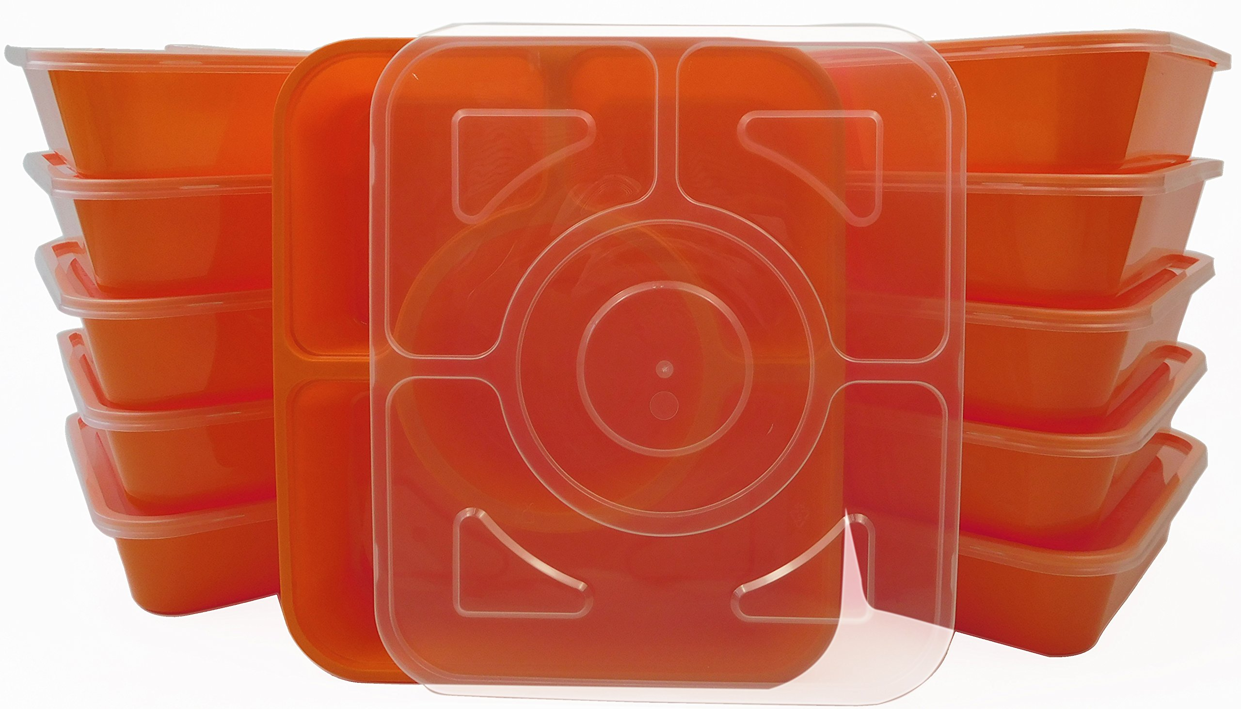 Table To Go 300-Pack Bento Lunch Boxes with Lids (4 Compartment/ 36 oz) (Orange)