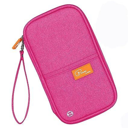 5e7063f6e61e Feeker Travel Passport Wallet Credit Card Holder Journey Case RFID Blocking  Mulit-Purpose Travel Organizer Document Ticket Bag (Pink)