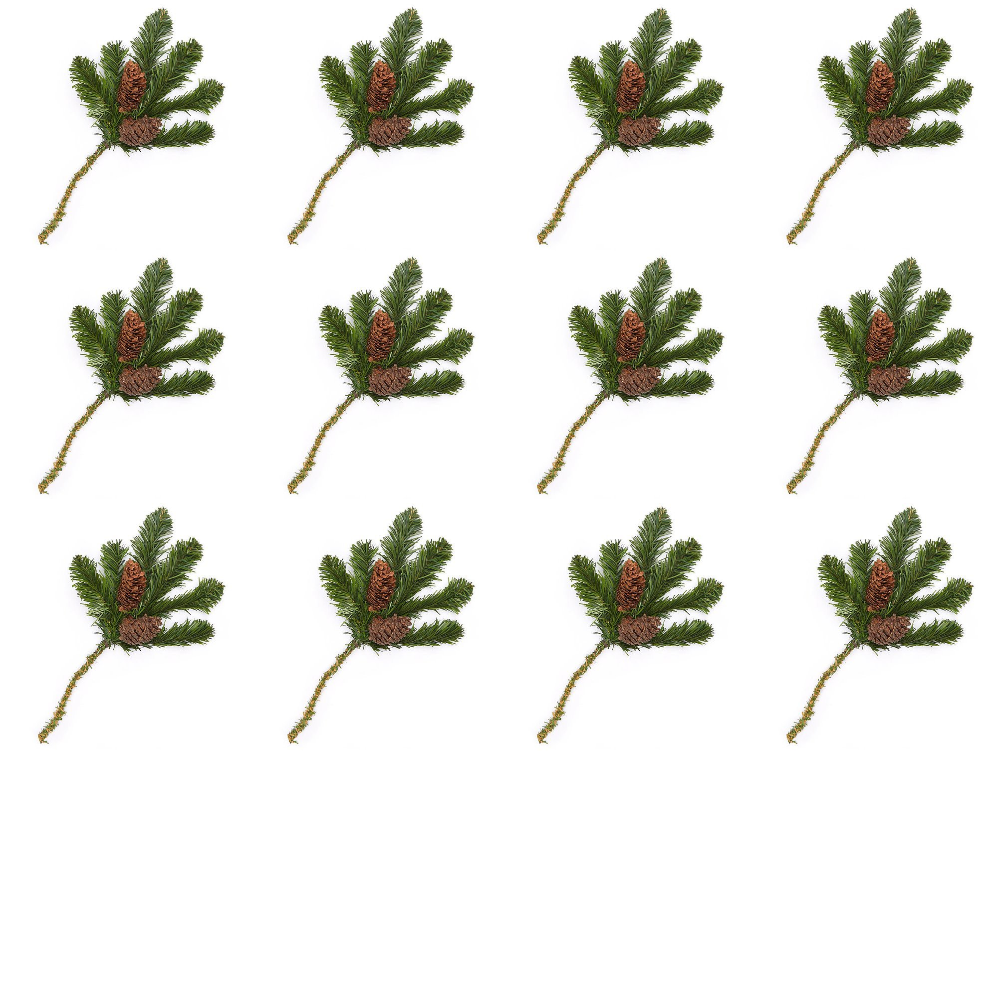 Factory Direct Craft Artificial Pine Picks with Natural Pinecones for Holiday Decorating - 24 Picks
