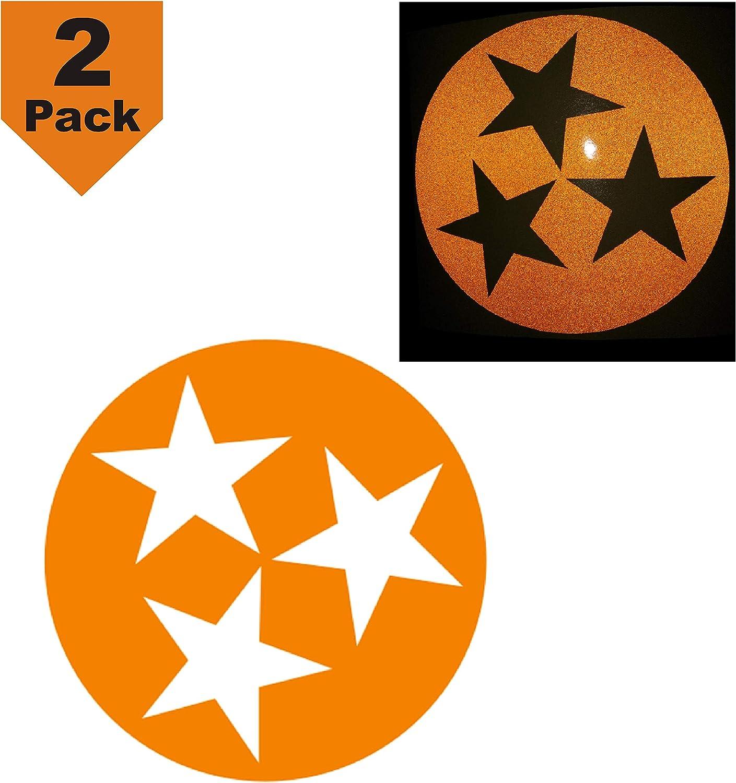 "CUSHYSTORE Tennessee Flag State Stars Orange Reflective Decal Vinyl Sticker for Motorcycle Car Hardhat Helmet Truck Laptop 3.75"", 2 Packs"