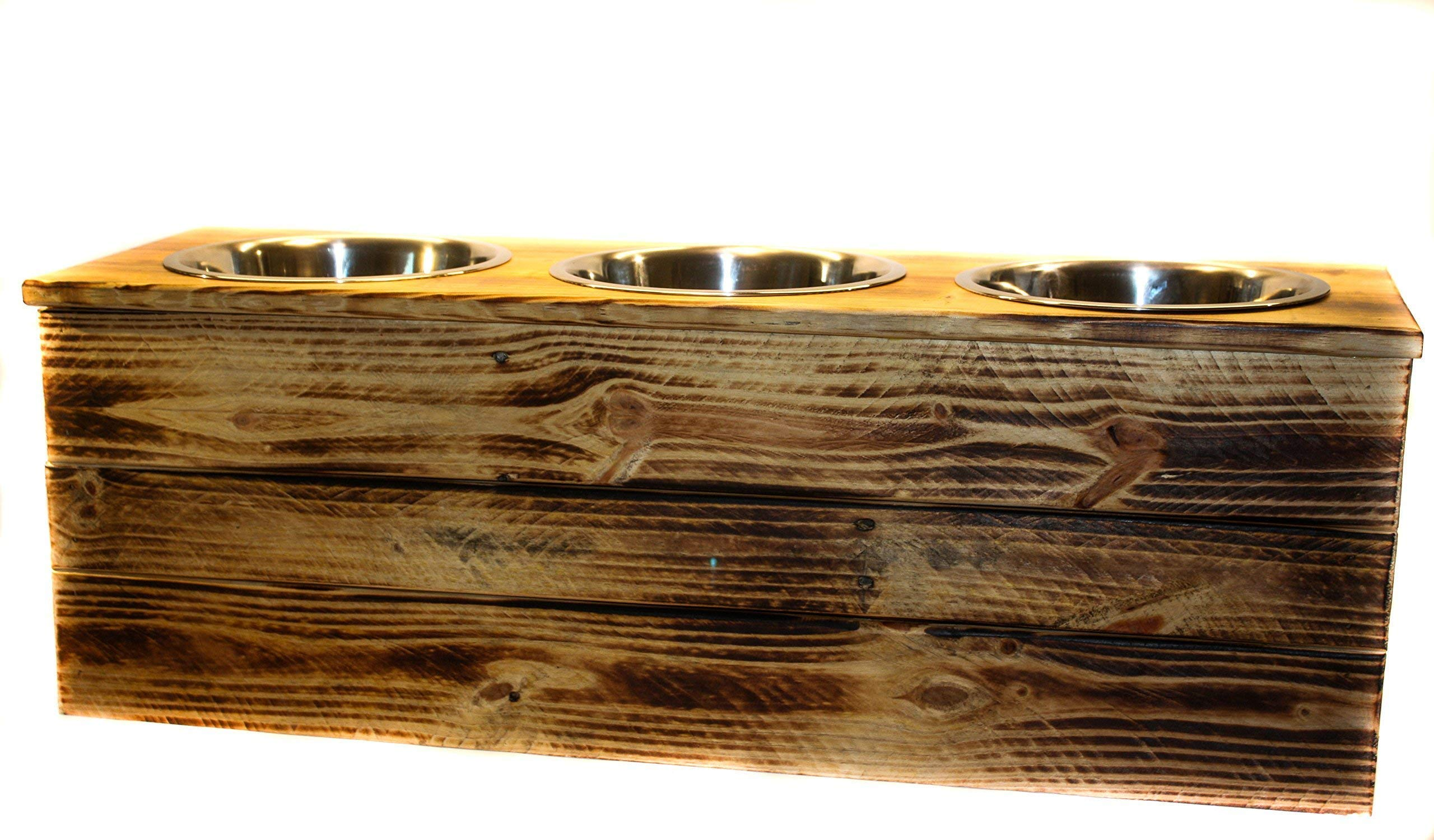 Elevated Extra Large Three Bowl Pet Feeder From Reclaimed Pallet Wood by 6 Dogs Decor