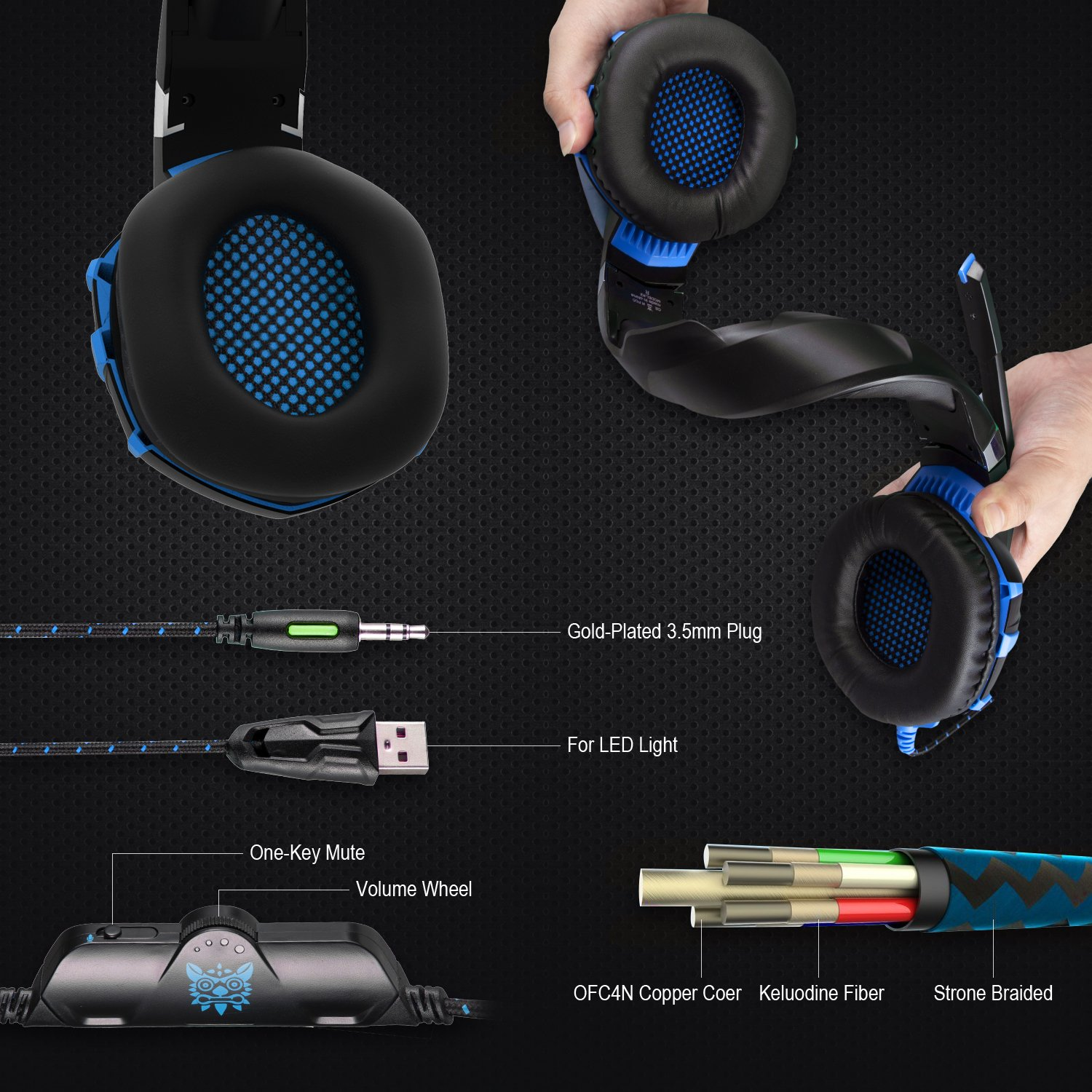 Gaming Headset,ONIKUMA Comfortable Stereo Gaming Over-Ear Headphone Headset Headband Mic Xbox One PS4 Controller PC Computer Game Noise Cancelling & Volume Control