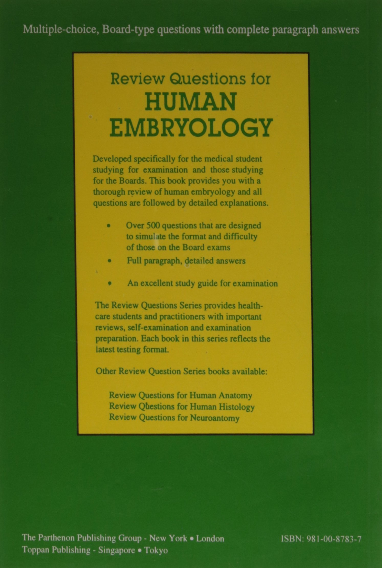 Amazon Buy Review Questions For Human Embryology Book Online At
