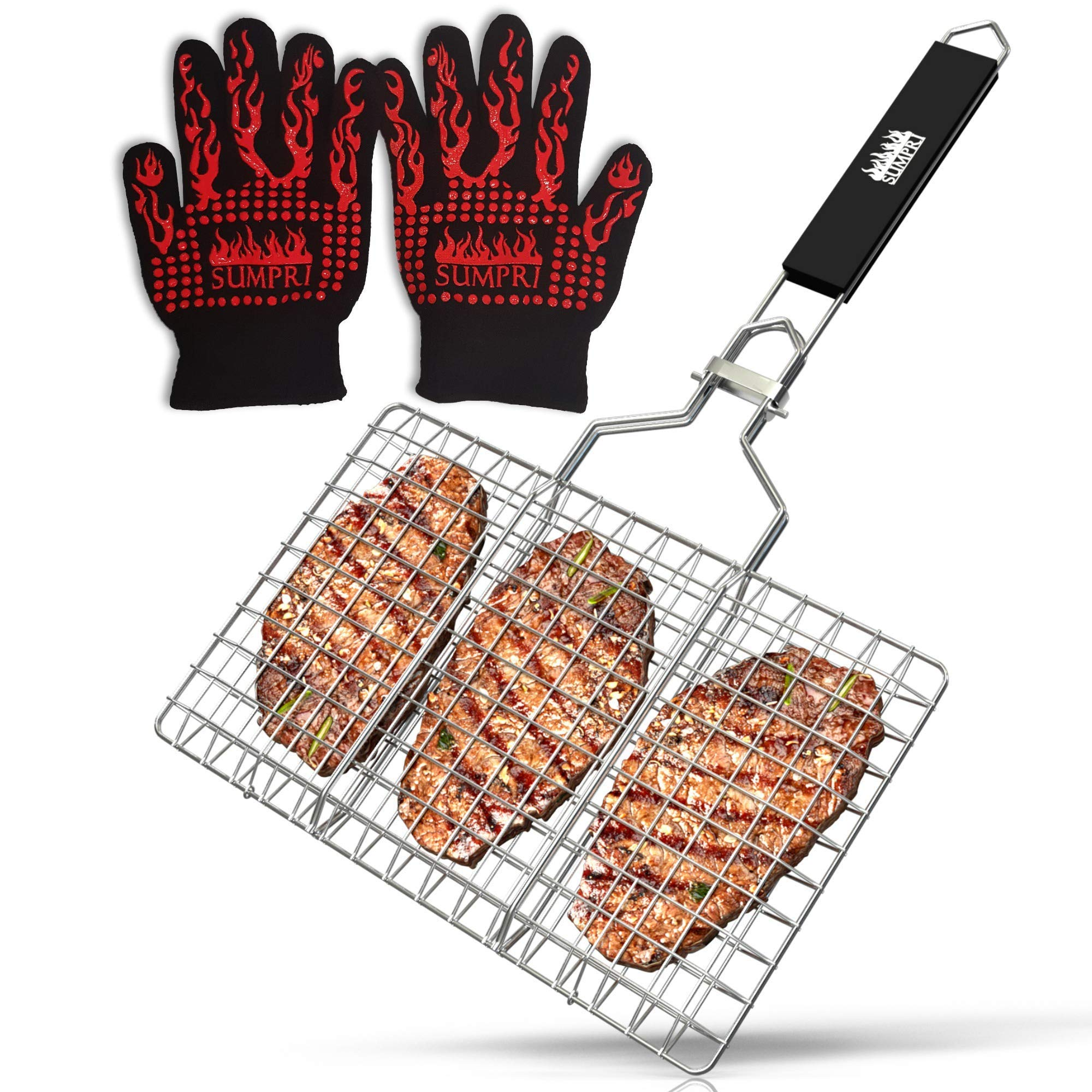 SUMPRI Barbecue Grill Basket -Portable Stainless Steel BBQ Grilling Basket With Removable Handle -Great For Veggies, Fish, Steak, Chicken, Chops, Shrimp &More【Bonus 932℉ Extreme Heat Resistant Gloves】 by SUMPRI