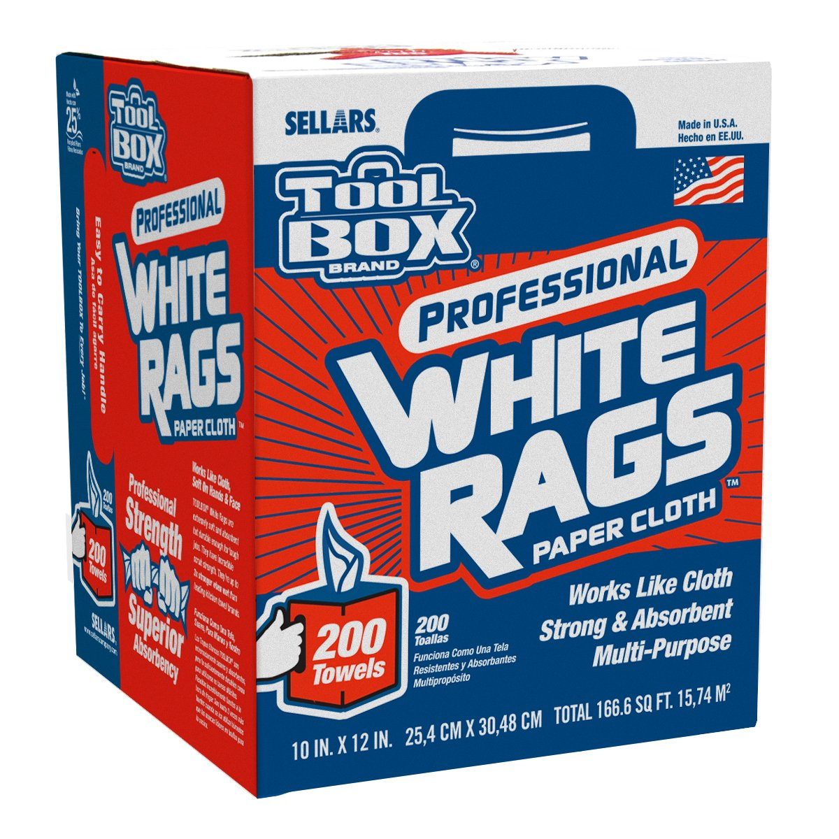 Sellars 58202 ToolBox White Rags Box, 10'' x 12'' (6 Boxes of 200 Sheets)