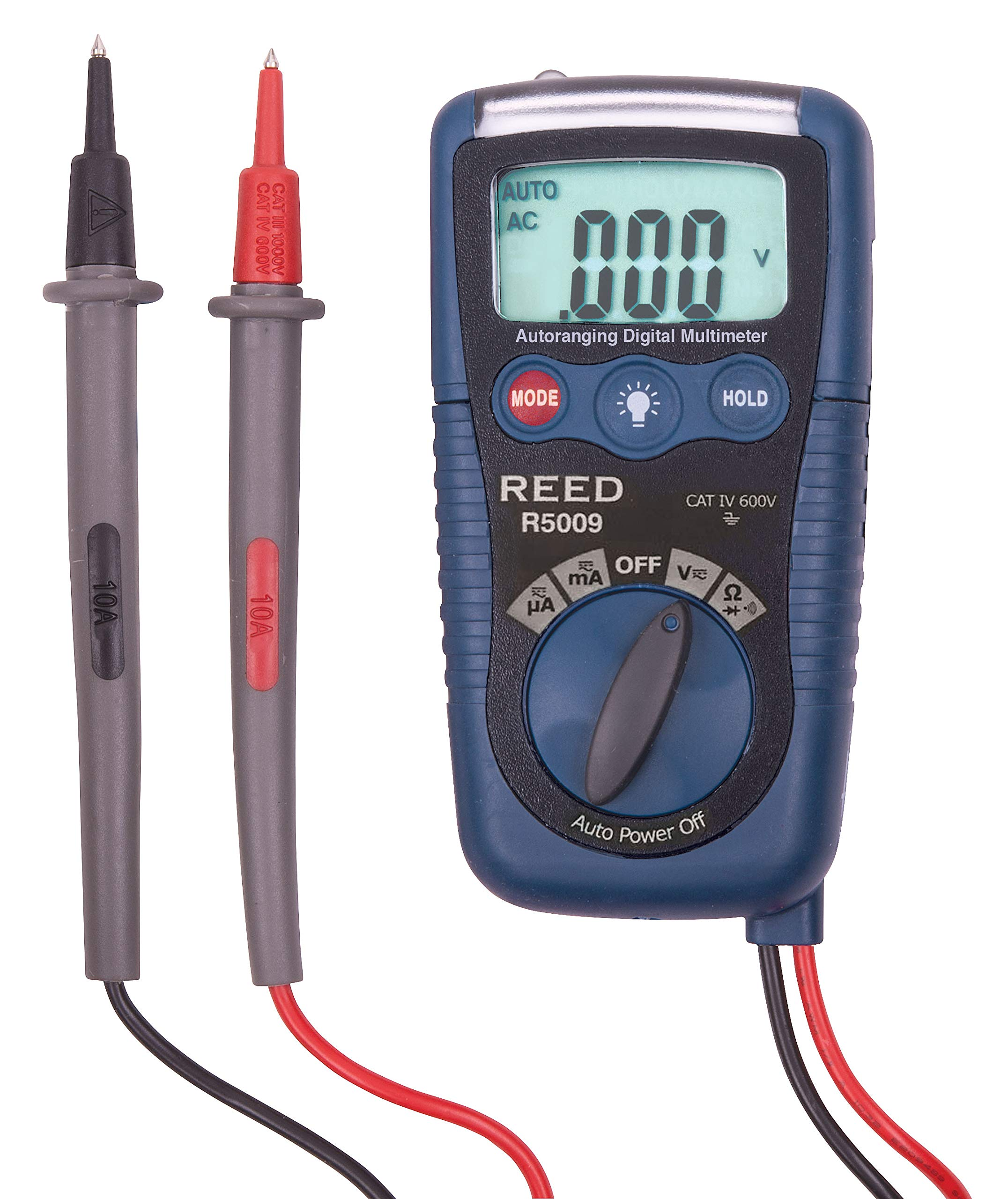 REED Instruments R5009 Pocket Multimeter with Non-Contact Voltage Detector and Flashlight, 3-in-1 by REED Instruments