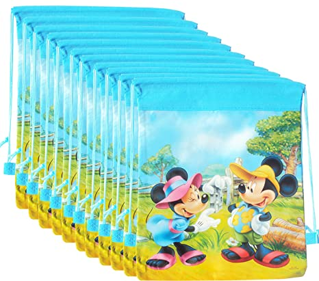 Asera Mickey Minnie Canvas Backpack Sack Dori Bag Birthday Return Gifts 12 Pcs Blue Amazonin Toys Games