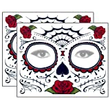 Amazon Price History for:Red Roses Day of the Dead Sugar Skull Temporary Face Tattoo Kit - Pack of 2 Kits