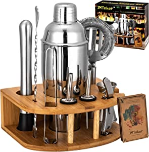 Cocktail Shaker Set with Stand | Perfect Bartender Kit for Home and Bar-Bar Tools set: 24oz Martini Shaker, Muddler, Jigger, Strainer, Mixer Spoon, Tongs, Corkscrew, 2 Liquor Pourers, Recipes Cards