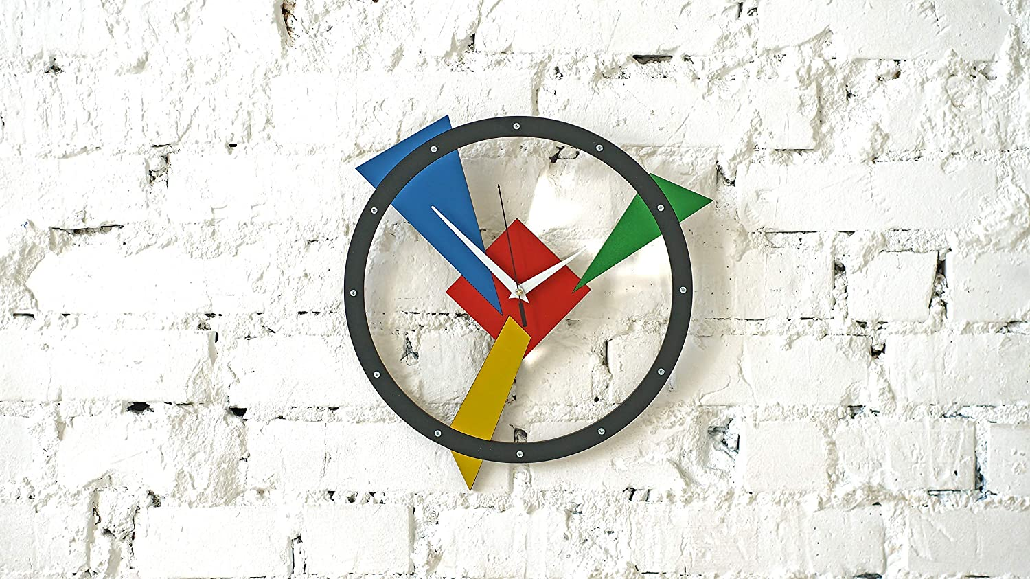 Composition Numero Tre Large Wall Clock Handcrafted perspective illusion abstract modern contemporary art style unique interior design room office decoration personalized custom made Gift