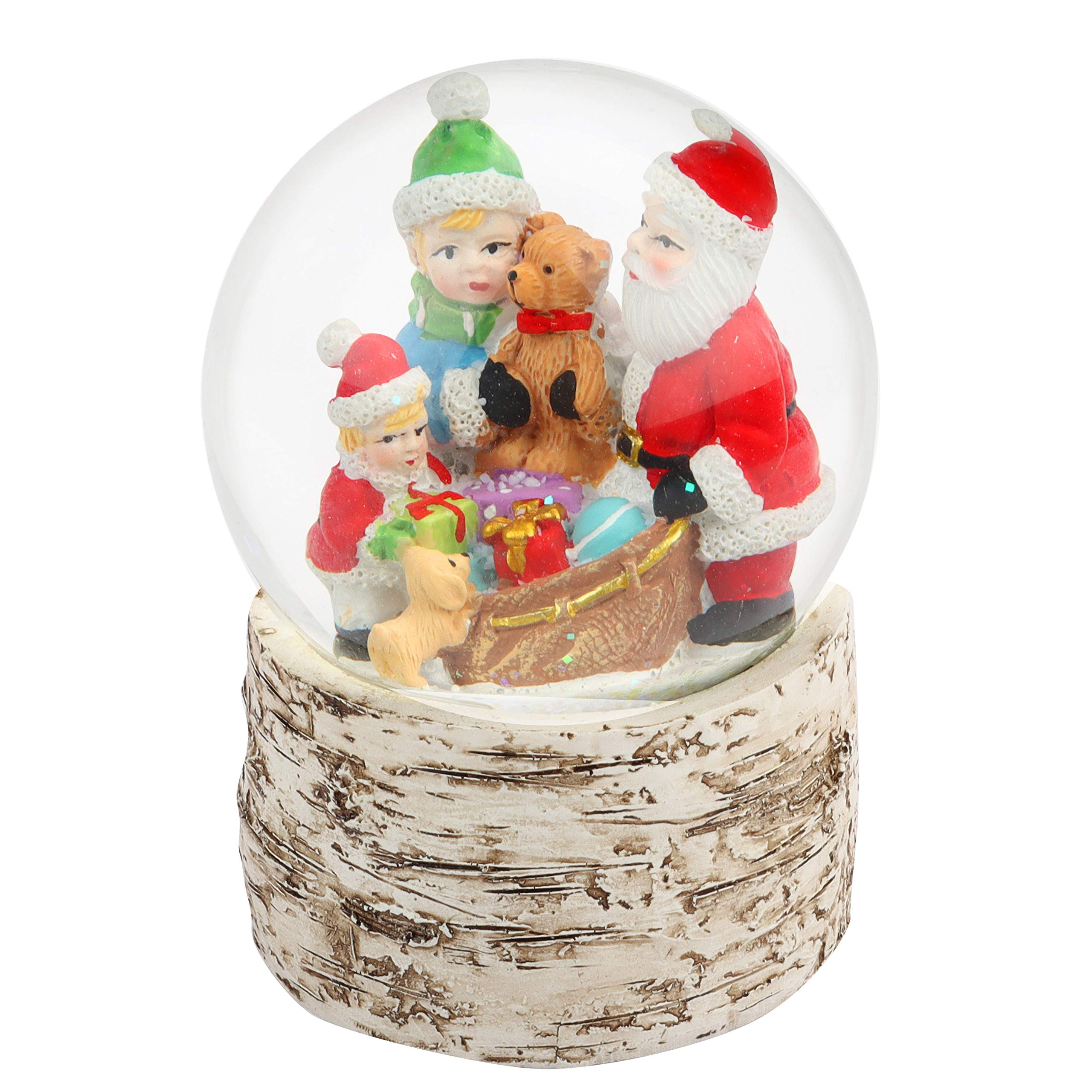 BELLE VOUS Christmas Snow Globe Ornaments - 14cm Santa Children and Puppy With Birch Base Snow Globe for Xmas Decoration, Gift and Christmas Table Decor