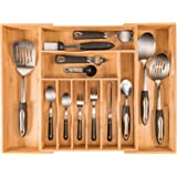 More Compartments, Organic Bamboo Utensil Organizer, Silverware Organizer & Cutlery Tray for Your Kitchen Flatware Drawer,Each Expandable Utensil Tray Comes with 10 Compartments & fits a 12 PC setting