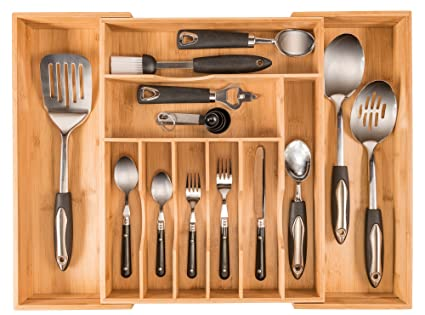 more compartments organic bamboo utensil organizer silverware organizer cutlery tray for your kitchen - Kitchen Utensil Organizer