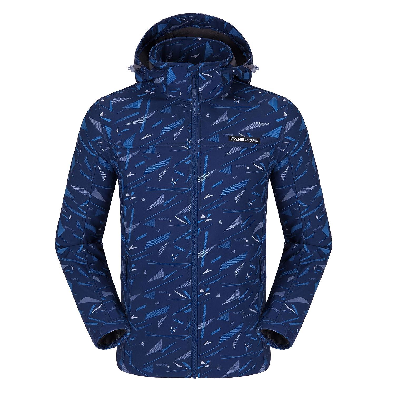 CAMEL Herren Softshell Jacke Funktionsjacke, Winddichte Warmer Mantel Jacke mit Kapuze für Winterwandern Ski Sports