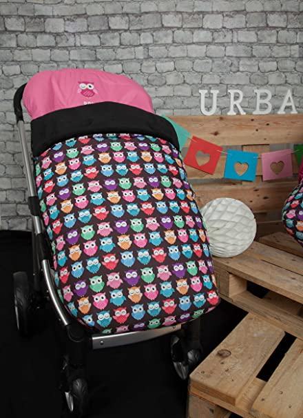 Babyline Estampado Búhos - Saco para silla de paseo, color azul