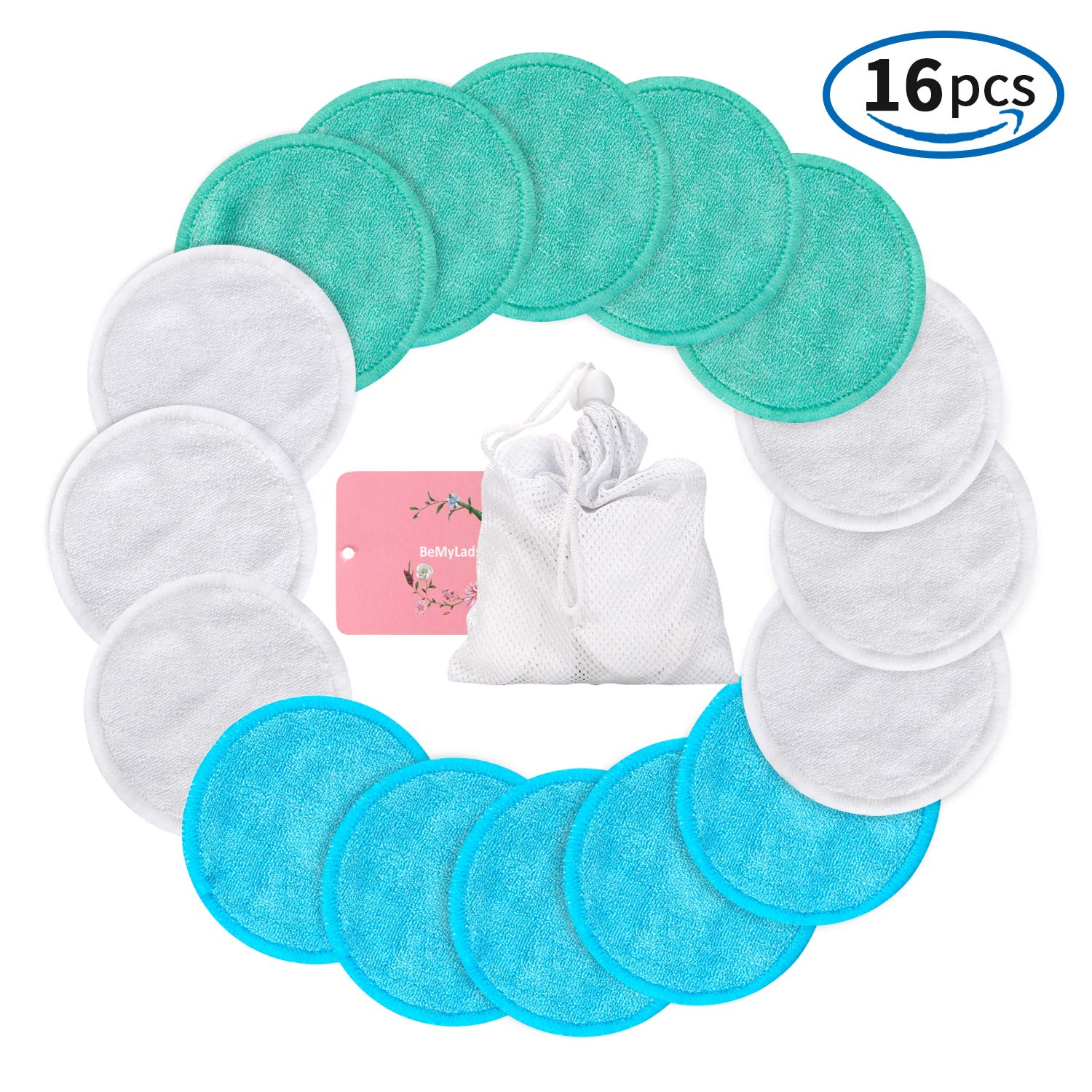 Makeup Remover Pads Reusable 16 Packs, Toner Pads, Facial Soft Cleansing Wipes, Washable Organic Bamboo Cotton Rounds with Laundry Bag (3 Colors) … BBing
