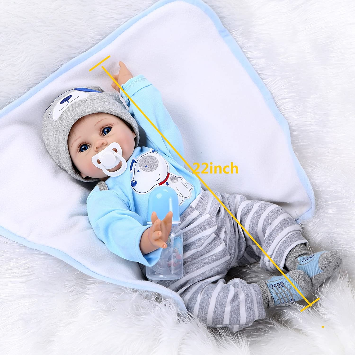 "20/"" Lifelike Reborn Baby Doll Silicone Vinyl Nipple Sleeping Baby Doll Toy Gift"