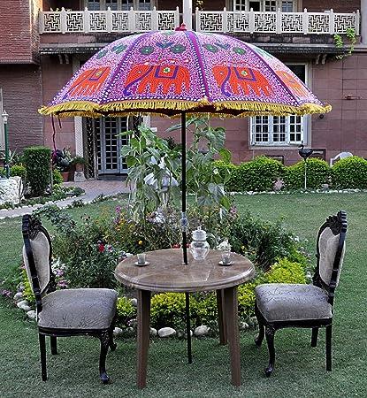 Lalhaveli Garden Decor Handmade Elephant Embroidery Designer Umbrella Large 52 X 72 Inches