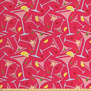 Lunarable Drinks Fabric by The Yard, Exotic Pattern of Tropical Cocktail Party Glasses with Lemons Slice, Decorative Fabric for Upholstery and Home Accents, 1 Yard, Coral Pink
