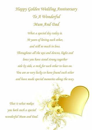 Golden Wedding Anniversary.Mum Dad Golden Wedding Anniversary Card