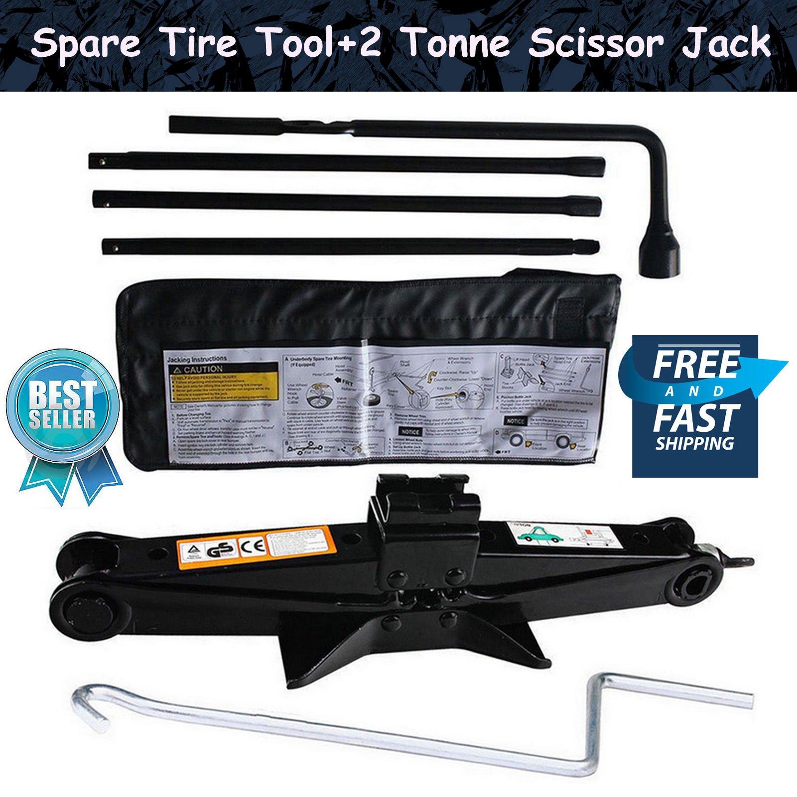Autofu Spare Tire Tool with Scissor Jack Kit for 2000-2014 Chevy Silverado / 2000-2014 GMC Sierra