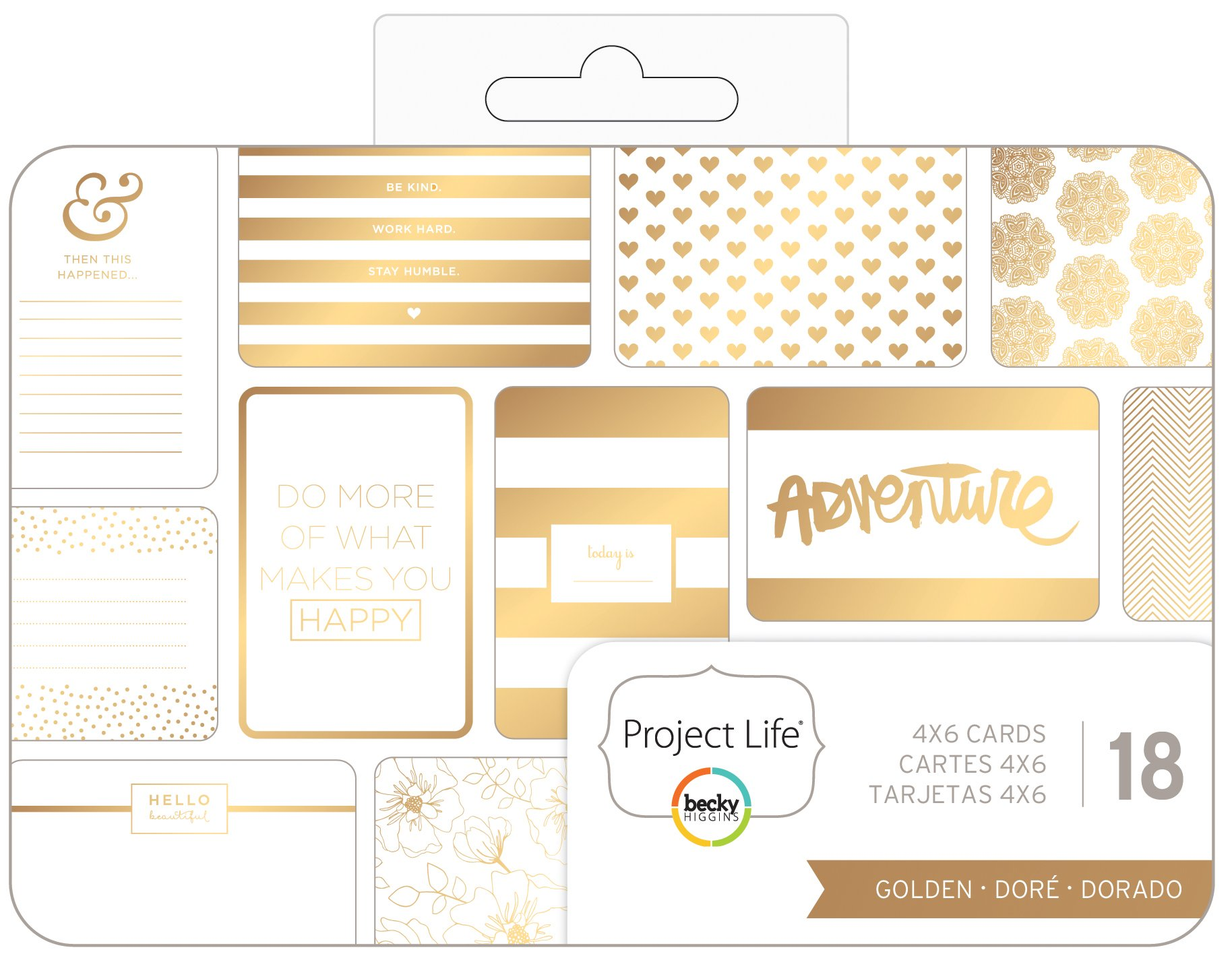 Becky Higgins - Project Life - 4 x 6 - Theme Cards - Golden (4 Pack)