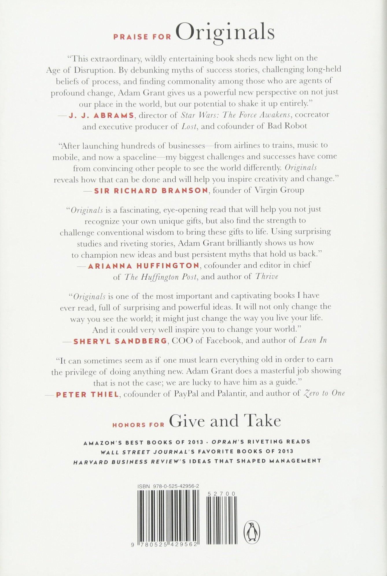 Originals: How Nonconformists Move The World: Adam Grant, Sheryl Sandberg:  9780525429562: Amazon: Books