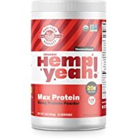 Manitoba Harvest Hemp Yeah! Organic Max Protein Powder, Unsweetened, 32oz; with 20g protein and 4.5g Omegas 3&6 per Serving, Keto-Friendly, Preservative Free, Non-GMO