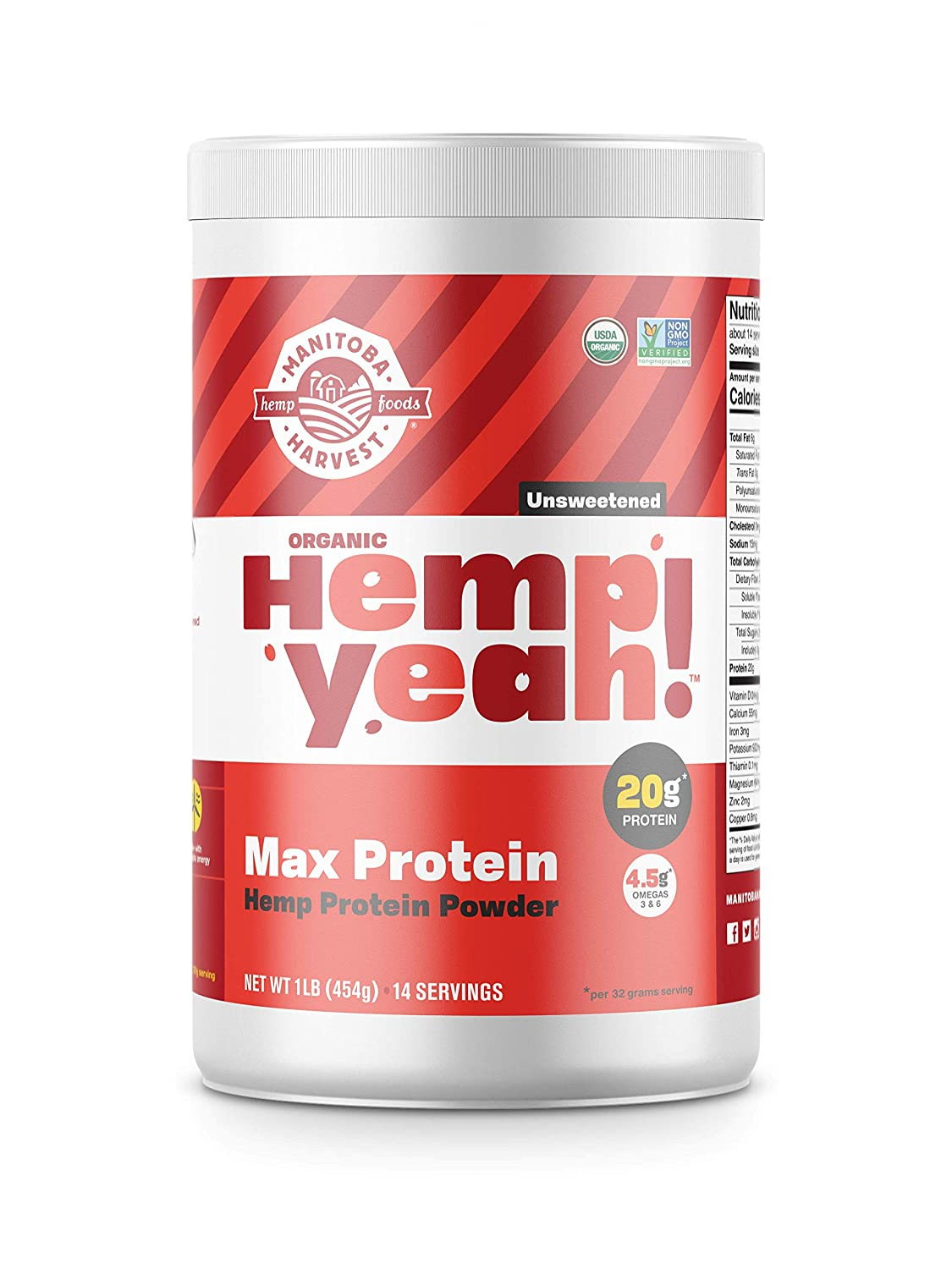 Manitoba Harvest Hemp Yeah! Organic Max Protein Powder, Unsweetened, 16oz; with 20g protein and 4.5g Omegas 3&6 per Serving, Keto-Friendly, Preservative Free, Non-GMO