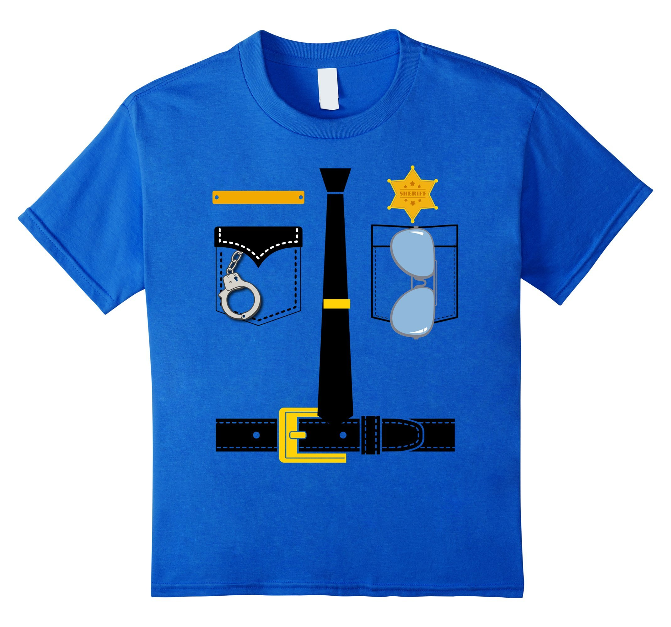 Kids Police Uniform Costume Halloween Kids T-Shirt 10 Royal Blue