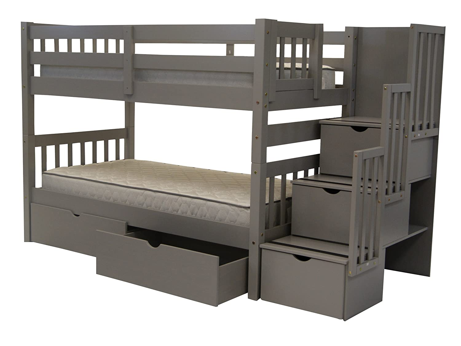Advantages Of King Dimension Loft Bed With Stairs Amazon.com: Bedz King Stairway Bunk Beds Twin over Twin with 3 Drawers in  the Steps and 2 Under Bed Drawers, Gray: Kitchen u0026 Dining