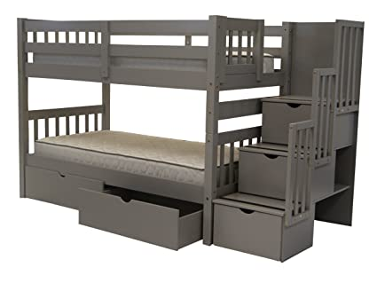 Amazoncom Bedz King Stairway Bunk Beds Twin Over Twin With 3