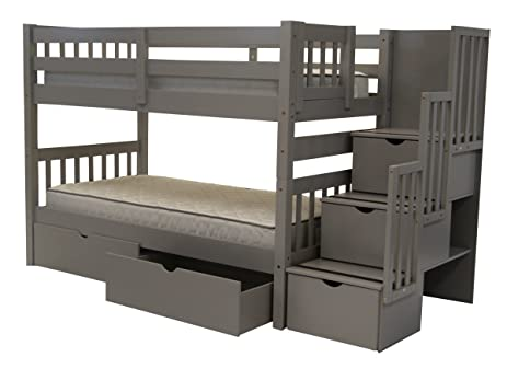 bedz king stairway bunk beds twin over twin with 3 drawers in the steps and 2