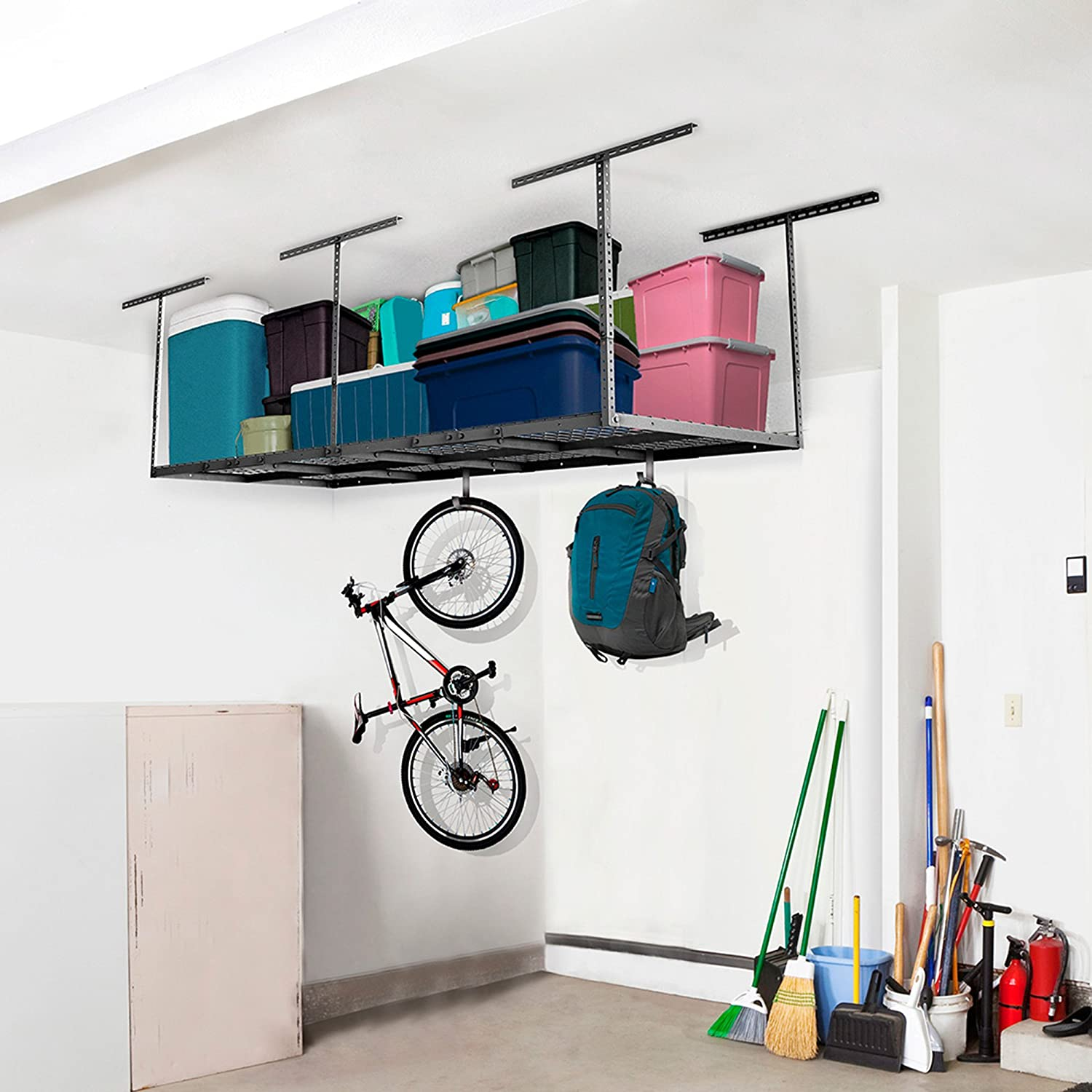 rack size full outrageousacts mounted storage ceiling interior ideas diy design overhead fascinating garage
