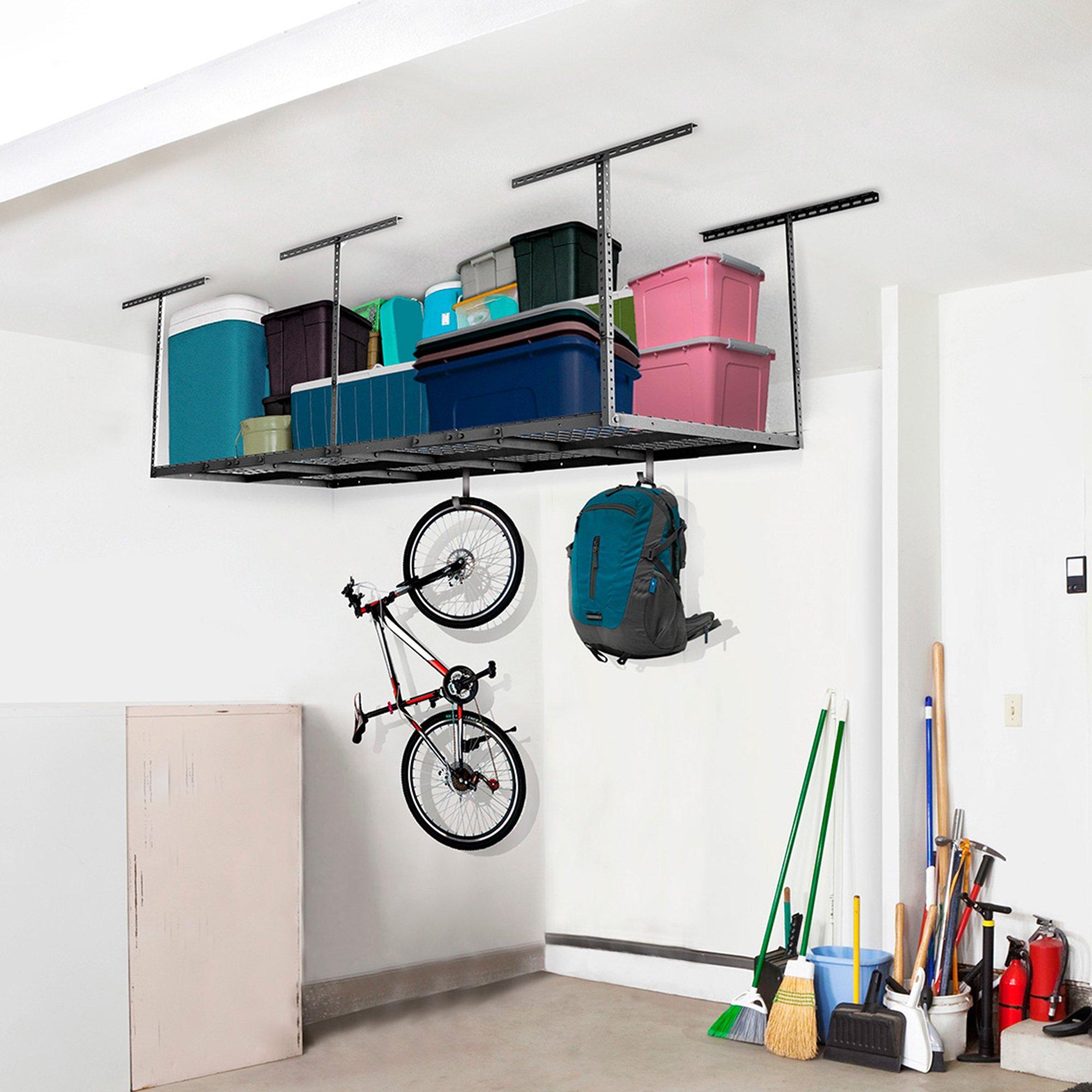 FLEXIMOUNTS 3x8 Overhead Garage Storage Rack Adjustable Ceiling Storage Rack Heavy Duty, 96'' Length x 36'' Width x 40'' Height (Black)