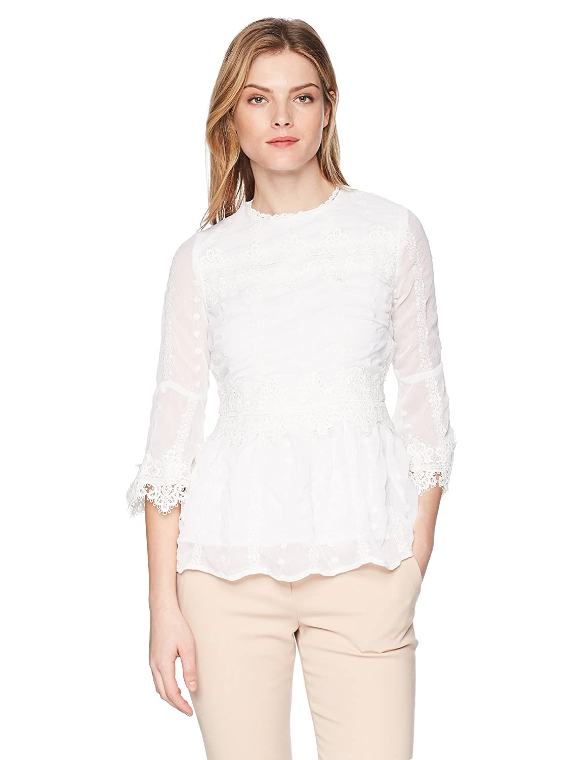 Nicole Miller New York Womens Lace 3//4 Sleeve Blouse