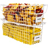 Annecy 2 Pack Wire Storage Baskets with Handles, 16 x 6 x 5.5 Inches - Stackable Wire Baskets for Kitchen, Bathroom, Bedroom,