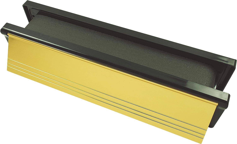 30 Minute Fire Rating Firestop 10 Defender Fire Rated Letterbox Polished Gold c//w Black Frame