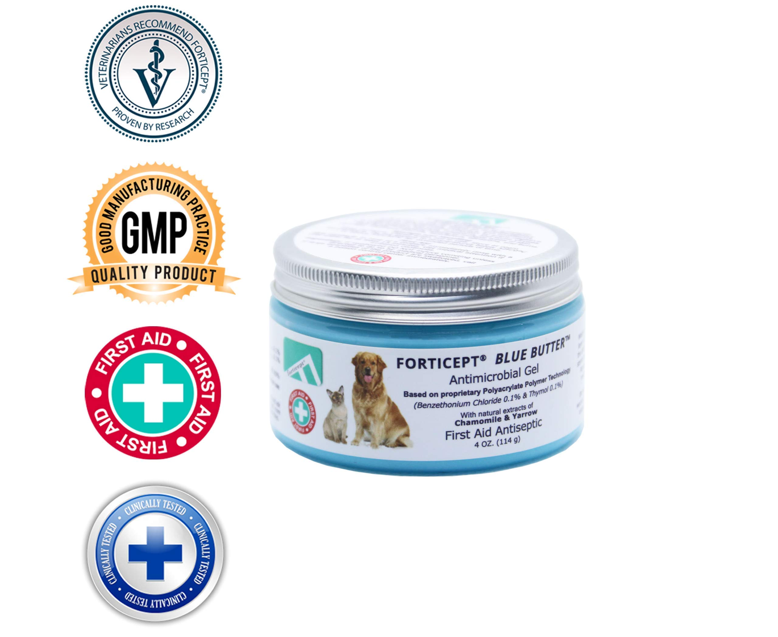 Forticept Blue Butter Antimicrobial Gel, Antiseptic Hydrogel Dogs Wound Care, Dogs & Cats for Skin Infections, Rashes, Sores, Wounds, Burns | 4 OZ by Forticept