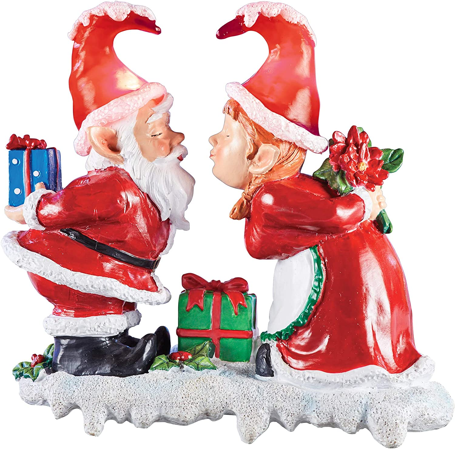 Collections Etc Solar Powered Led Lights Kissing Santa Claus Garden Gnomes