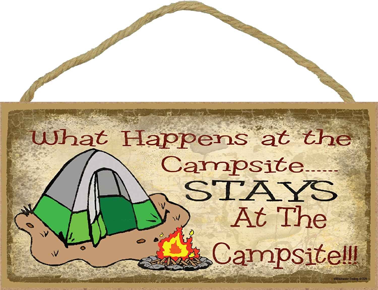 What Happens At the Campsite Stays At the Campsite Tent Camp Sign Plaque Camping Decor 5x10 SJT 91328