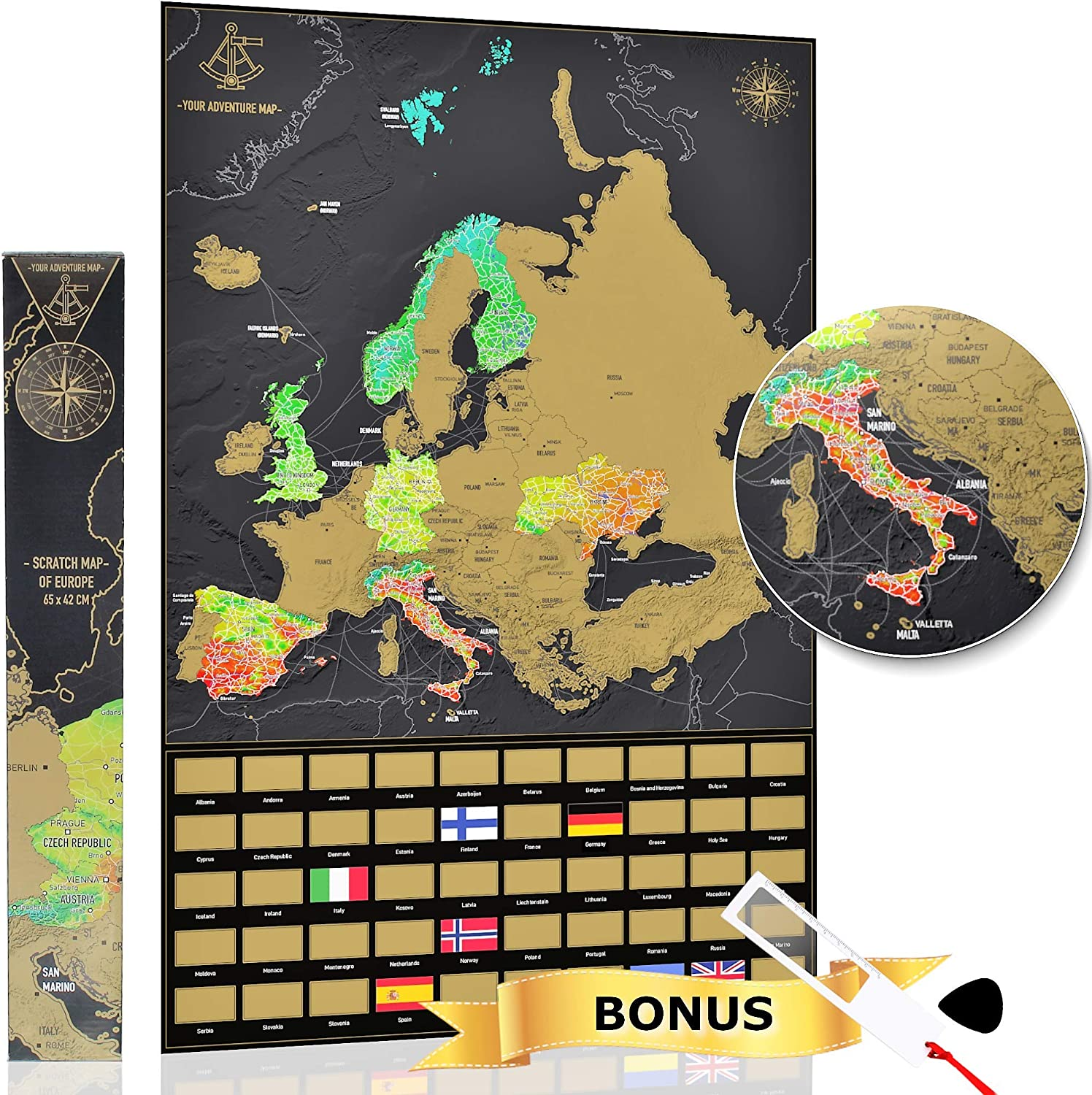 YOUR ADVENTURE Mapa Europa para rascar (65 x 42 cm) – Regalo ...