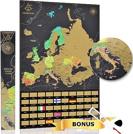 YOUR ADVENTURE Mapa Europa para rascar (65 x 42 cm) – Regalo curioso para viajeros – Mapa De Europa de rascar para colgar en la pared: Amazon.es: Oficina y papelería
