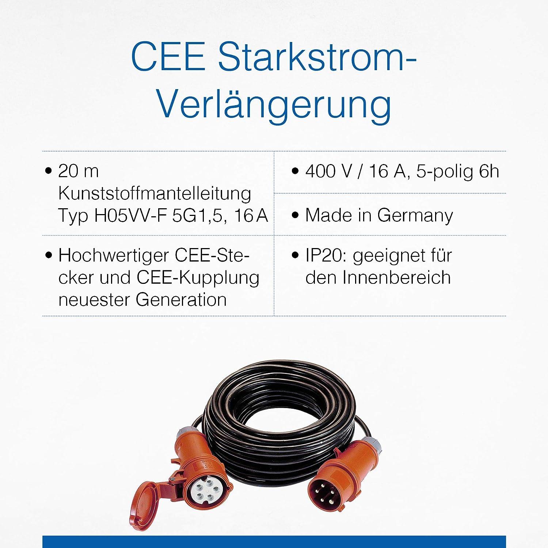 avec prise et fiche CEE /Schwabe courant fort C/âble rallonge 400/V 61088 as/
