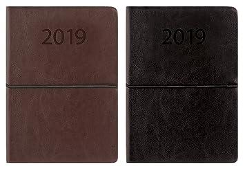 2019 - Agenda semanal (A5, piel sintética, con cierre ...