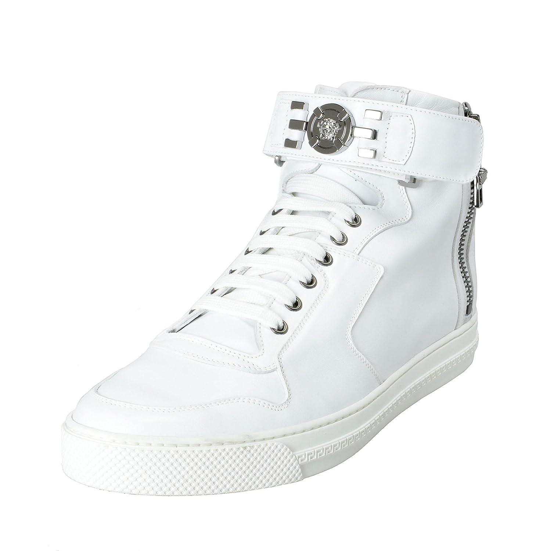 6a0114685359f Amazon.com: Versace Men's White Leather Hi Top Fashion Sneakers ...