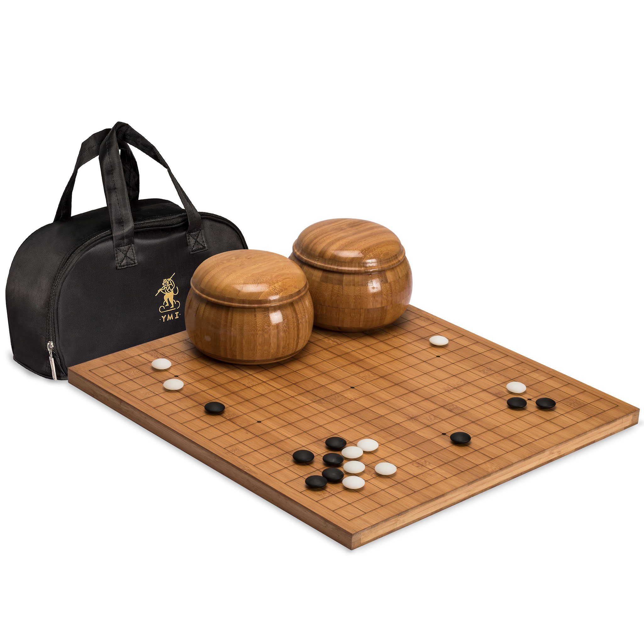Go Game Set with Etched Bamboo Go Board (0.8 Inch Thick), Double Convex Yunzi Stones (Size 33) and Bamboo Bowls by Yellow Mountain Imports