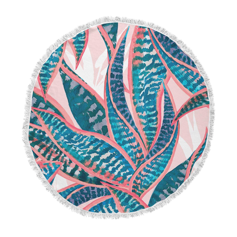 Kess InHouse Mmartabc Succulent Pattern Leaves Blue Pink Illustration Round Beach Towel Blanket