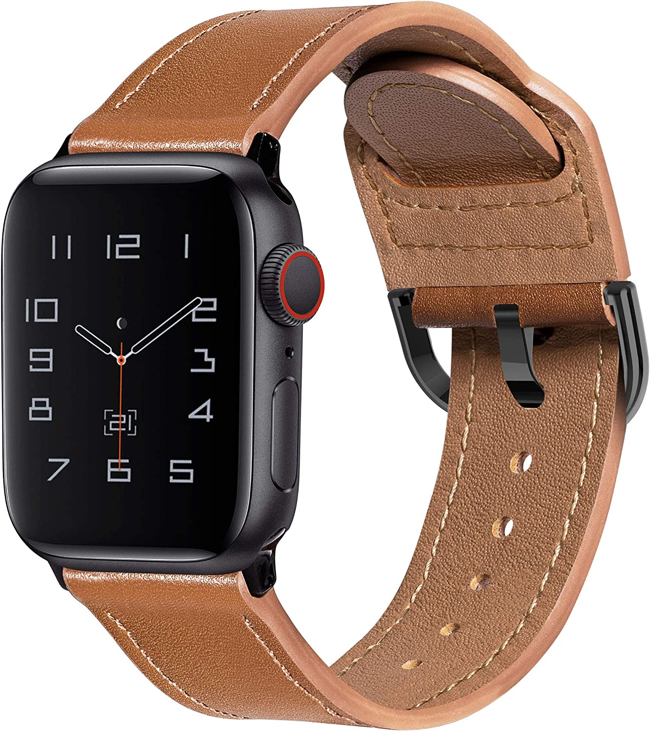 MARGE PLUS Compatible with Apple Watch Band 40mm 38mm 44mm 42mm, Genuine Leather Strap Replacement for iWatch SE Series 6 5 4 3 2 1, (Brown/Black)